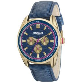 Relógio Dourado Seculus Feminino 20557lpsvdr1 Original C/ Nf