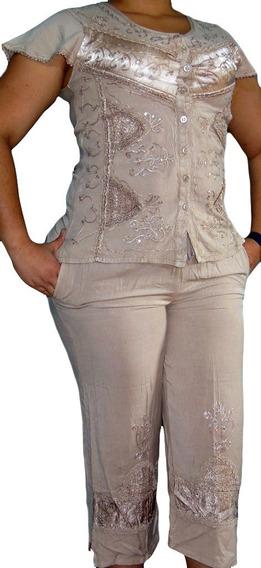 Conjunto De Vestir 2 Piezas Para Mujer Blusa+pantalón Capri