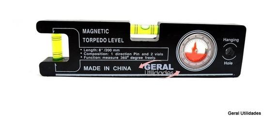 Mini Nível C/ Base Magnética E Inclinometro P/apontar Antena