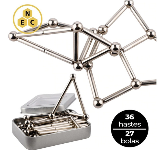 Kit Bolas Magnéticas Brinquedo De Imã 63 Pcs Buckyballs