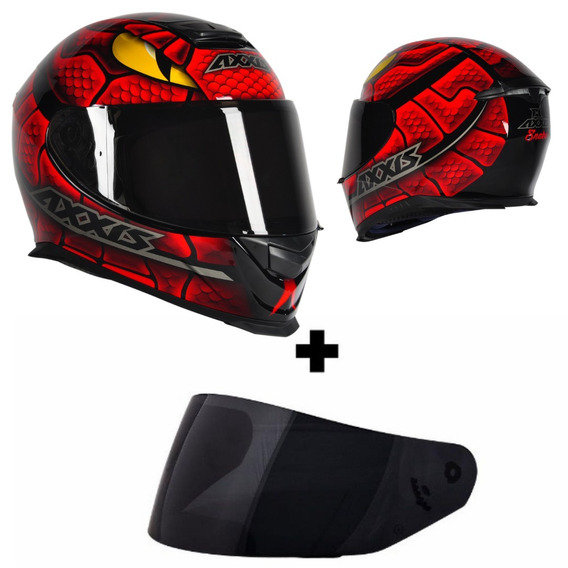 Capacete Axxis Eagle Snake Gloss Black Red Mais Viseira Fume