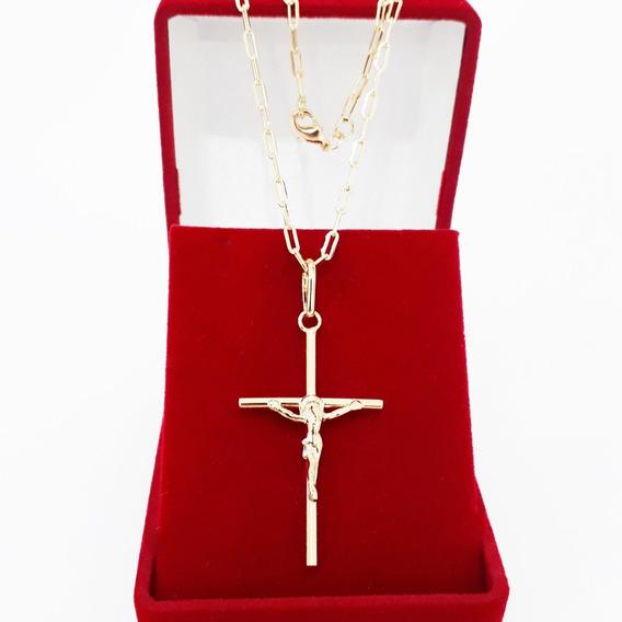 Corrente Cordão Masculina 70cm 2mm Crucifixo Face Folheado