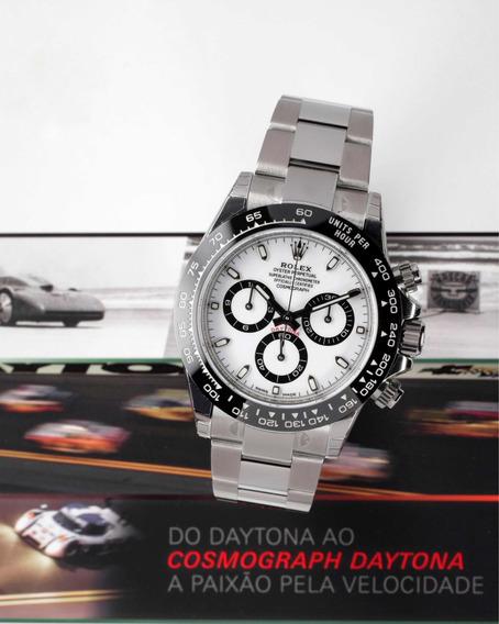 Rolex Daytona Aço Mostrador Branco Bezel De Cerâmica - 116500ln I Relógio Masculino Original