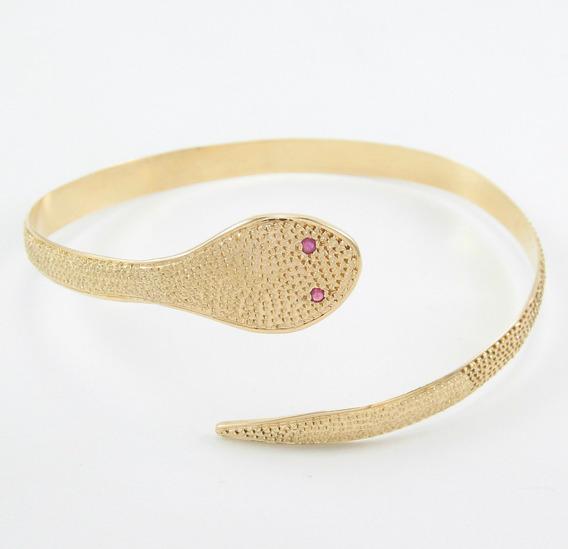 Esfinge Jóias - Bracelete Cobra Serpente Rubis Ouro 18k 750