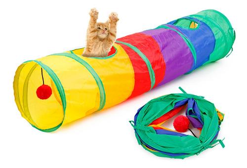 Imagen 1 de 6 de Túnel De Gato Plegable Road Cat Toys Kitty Tunnel Pompon