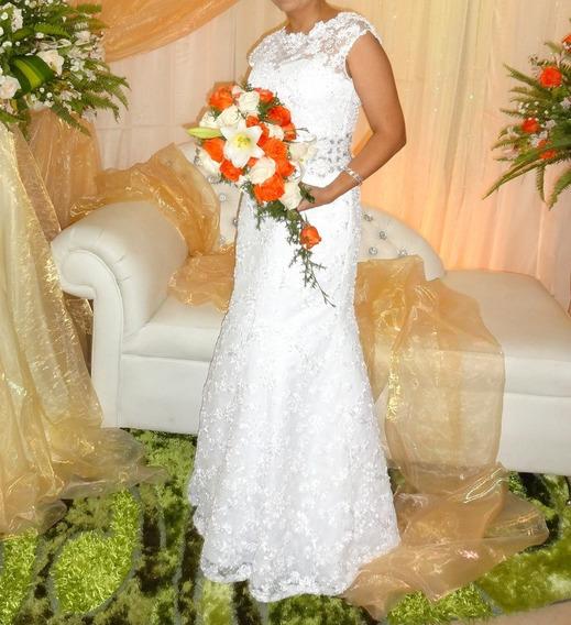 Vestido De Novia Blanco. Hecho A Medida,talla M Completa.