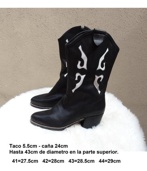 Bota Texana, Horma Ancha, Talles Grandes 41 42 43 44