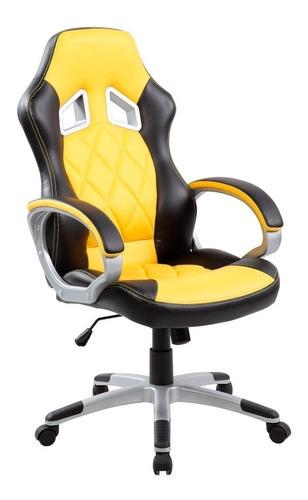 Imagen 1 de 1 de Silla de escritorio AyP Equipamientos Split gamer ergonómica  amarilla y negra con tapizado de cuero sintético