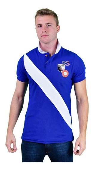 Playera Polo Porto Blanco Algodon Hombre Azul Rey