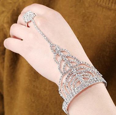 Pulseira Anel Bracelete Cristal Strass Noiva 15 Anos Luxo