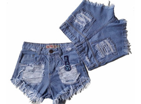 Kit 8 Shorts Jeans Feminino Atacado Cintura Alta Hot Pant
