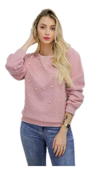 Blusa Feminina Rosa Manga Longa Perolas Inverno Frio