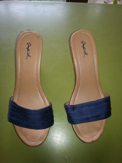 Sandalia De Tiras De Gamuzas Azul