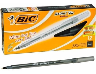 Lapicera Boligrafo Birome Bic Round Stic Rondo Negro X 12 Un