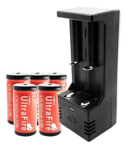 Carregador Duplo + 5 Baterias Cr123a 16340 Ultrafire