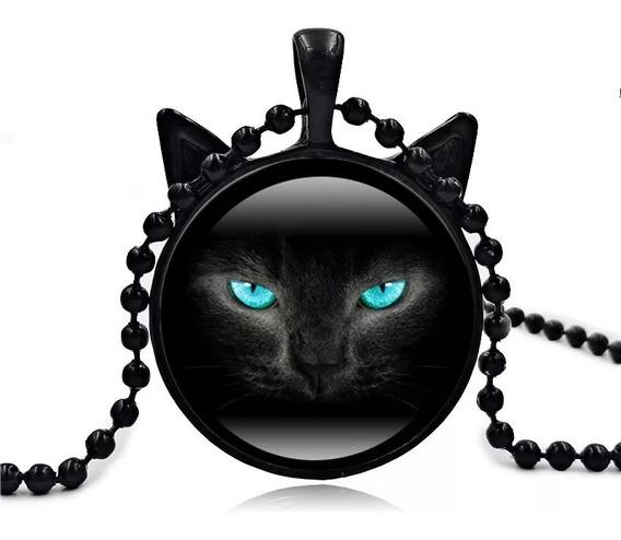 Colar Pingente Gato Preto Com Orelhinhas Olhos Azuis Cat