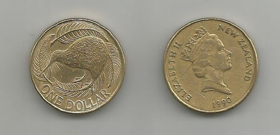 Moneda Nueva Zelanda Kiwy 1 D. 1990 Muy Buena