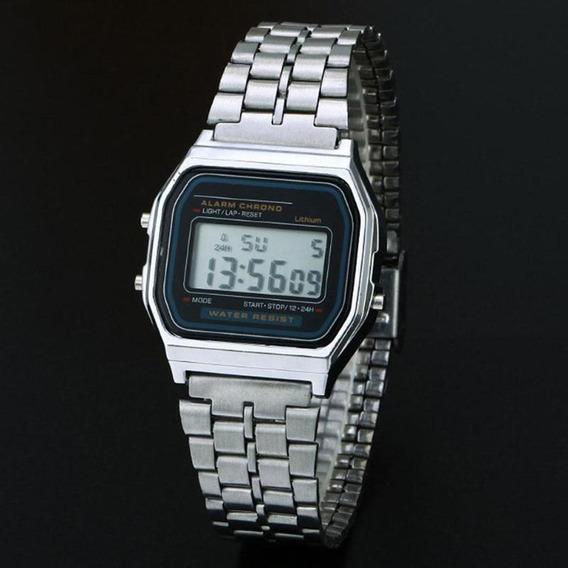 Homens Inoxidável Aço Banda Lcd Digital Pulso Relógio Esport