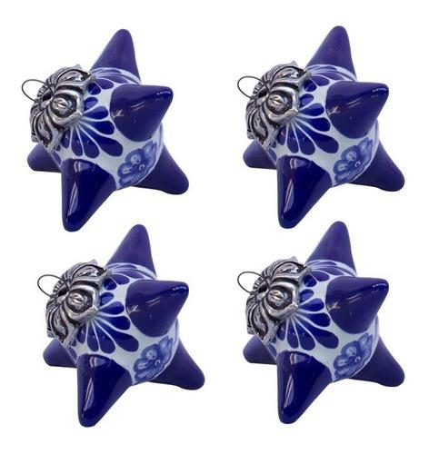 Imagen 1 de 2 de Set 4 Esferas Piñata Azules. Alonso Luis. Cerámica Talavera