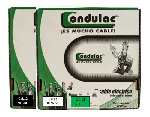 Imagen 1 de 6 de Kit 3 Cajas 100mts Cable Verde,negro,blanco Cal12 Condulac