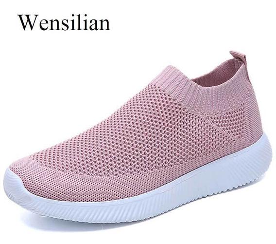Las Mujeres Zapatillas De Deporte De Malla Calcetín Zapatos