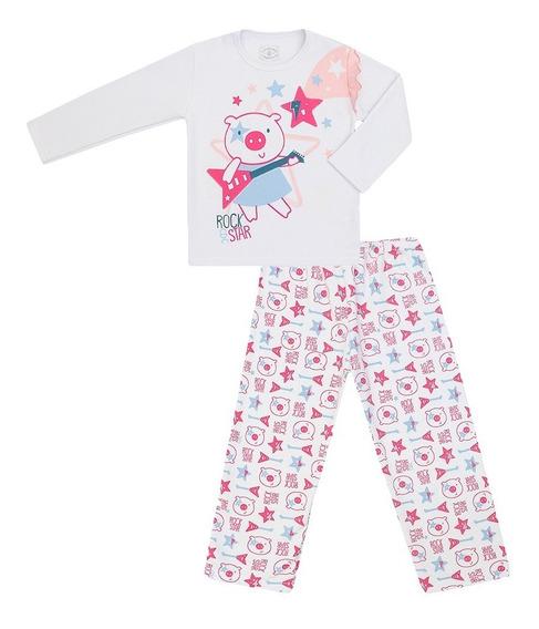Pijama Longo Feminino Moletom Rock Star
