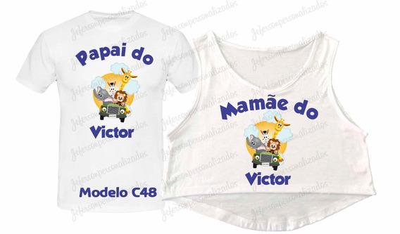 Camisetas Chá De Bebê Safari Papai E Mamãe 2 Peças