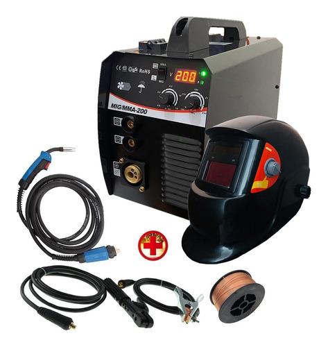 Soldadora 2en1 Mig 200a Sin Gas Y Electrodo +careta+alambre