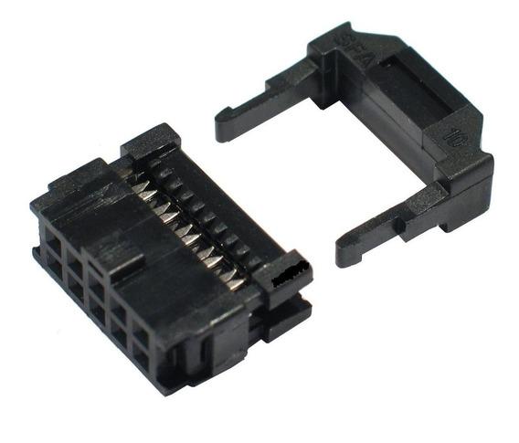 50x Conector Idc Femea Latch 10 Vias Para Flat Cable Fc10