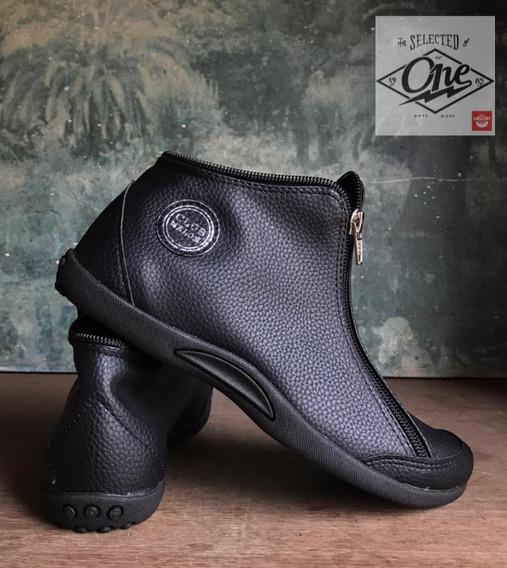Zapatilla Botita Diseño Clubmelon Modelo Negro Graneado #168