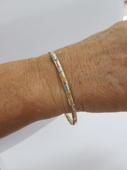 Pulseira Bracelete Em Ouro 416k 3 Cores 5,9 Gr - 12