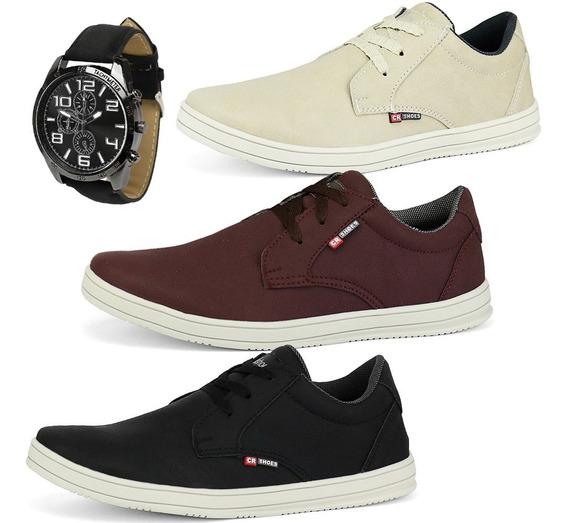 Kit 3 Pares Sapatênis Casual Tênis Social Swshoes + Relógio