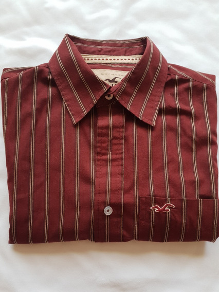 Camisa Hollister Color Vino / Rojo Rayada Hombre Chica S