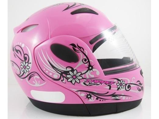 Capacete Moto Feminino Taurus Zarref V4 Femme Rosa Tam 56