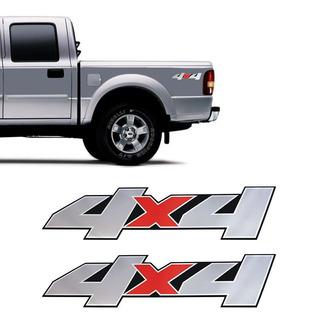 Par De Adesivos 4x4 Ford Ranger 2007 A 2009 Emblema Cromado