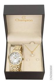 Kit Relógio Champion Dourado Feminino Cn29936w