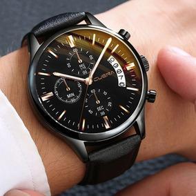 Relógio Masculino Novo Aço Inoxidável Pulseira Couro Social
