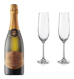 Combo 2 Copas De Cristal + 1 Rutini Extra Brut 750ml