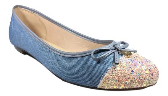 Sapatilha Feminina Moleca Azul Jeans Com Glitter
