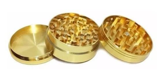 Dichavador Triturador Dourado Metal + Leda