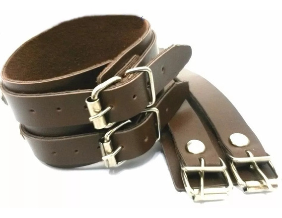 Bracelete Pulseira D Couro Marrom 2 Fivelas Punkrock Ref:364