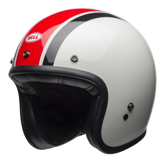 Capacete Bell Ace Cafe Stadium White Black Red Custom 500