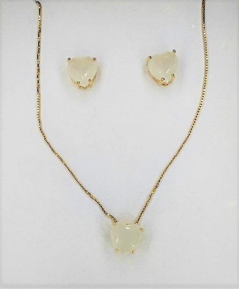 Conjunto Folheado Ouro Cristal Zircônia Coração Luxo 3343059