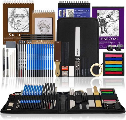 Set De Arte 54 Piezas P/ Dibujo Lapices + Hojas + Accesorios