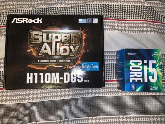 Kit Processador I5-7400 E Placa Mãe Asrock H110m-dgs R3.0