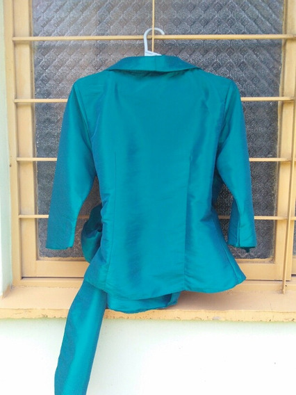Camisa De Raso Tipo Kimono Color Verde