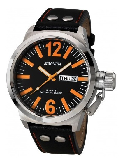Relógio Masculino Magnum Prateado Pulseira Couro Ma31524j