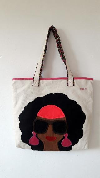 Bolsa De Tecido Algodão Crú Feminina Black Power