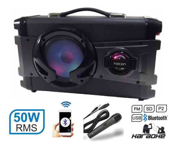 Caixa De Som Com Alça Portatil Bateria Karaoke Microf 50w