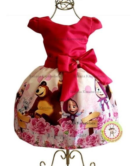 Vestido Masha E O Urso Temático Personagem Infantil Festa